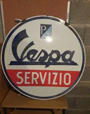 Rarissima insegna originale servizio Vespa