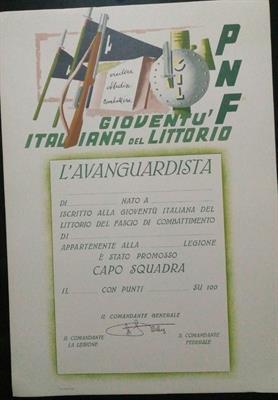 Diploma Attestato della GIL