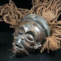 Chokwe Mwana Pwo Mask Copricapo in rafia 20 ° C