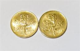 20 lire Quercia 1957 gambo normale +gambo7 largo rara FDC
