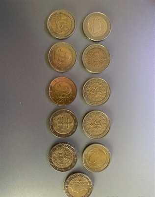 Lotto 11 monete da 2 euro rare (alcune con errore di conio)